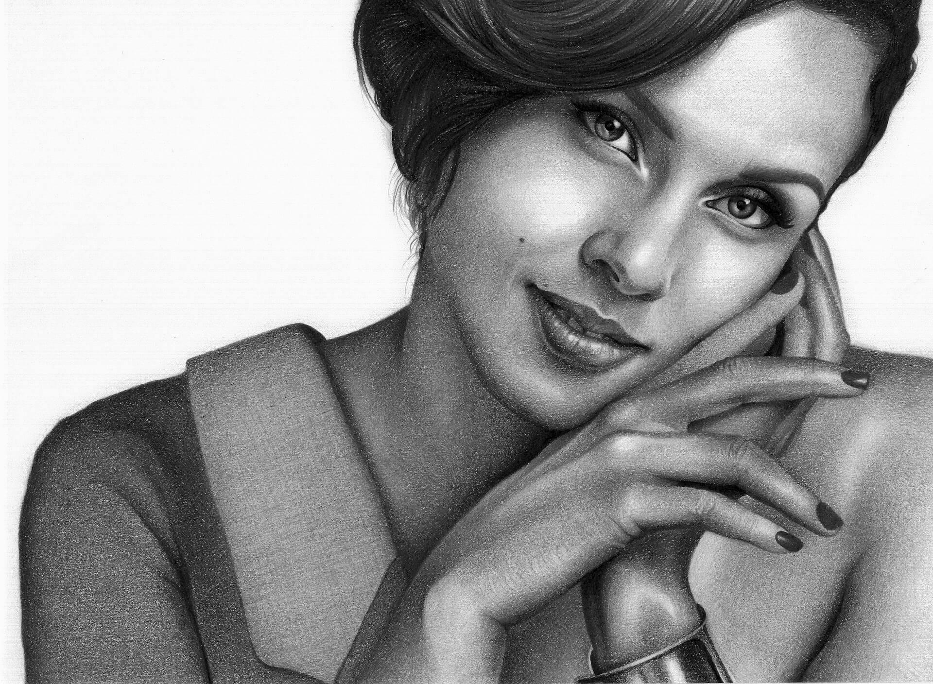 női grafit portré rajz